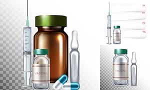 药瓶注射器等疫苗接种主题矢量素材