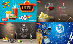 滑雪運動與快餐等海報設計矢量素材