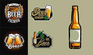 复古怀旧风格啤酒插画创意矢量素材