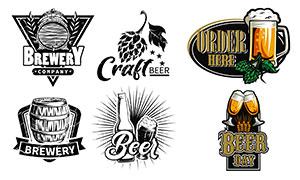 酒桶与酒杯等啤酒主题设计矢量素材