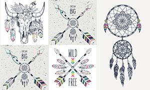 捕梦网与羽毛骷髅头等创意矢量素材