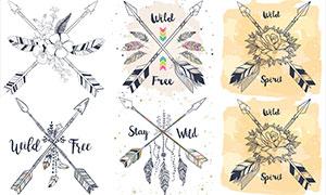 手绘复古风格羽箭与花朵等矢量素材