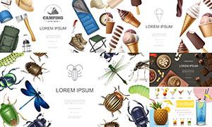 冰淇淋与鸡尾酒等主题设计矢量素材