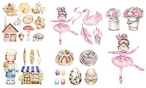 兔子与彩蛋等水彩创意设计矢量素材