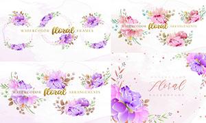 水彩花朵與暈染等請柬設計矢量素材