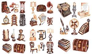 水彩效果古董物件主題設計矢量素材