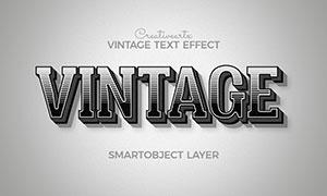 黑白復古漸變效果立體字模板源文件