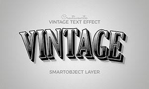 黑白復古拱形樣式立體字模板源文件