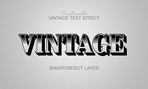 條紋裝飾復古風格立體字模板源文件