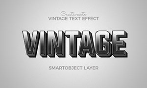 黑白復古半調圖案立體字模板源文件