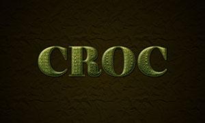 鱷魚皮革紋理文字設計模板分層素材