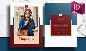 藍紅色搭配的雜志畫冊設計模板素材