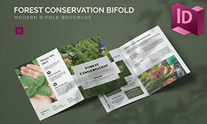 森林保護公益宣傳折頁版式設計模板