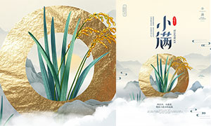 中國風小滿節氣活動海報設計PSD素材