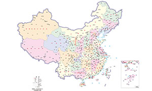 中國行政劃分詳細地圖矢量素材