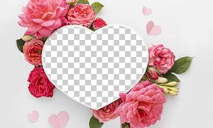 玫瑰花朵装饰免抠桃心边框模板素材