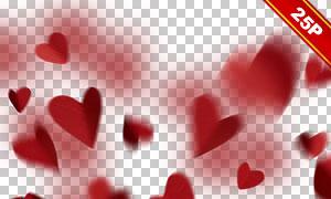 紅色桃心裝飾圖層疊加高清圖片素材