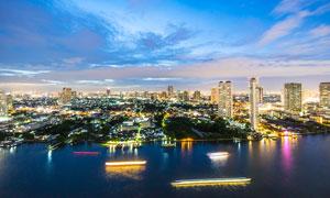 夜幕降臨下的曼谷都市攝影圖片