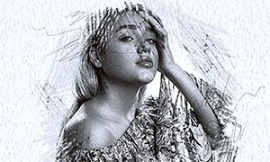黑白鉛筆手繪效果智能模板分層素材