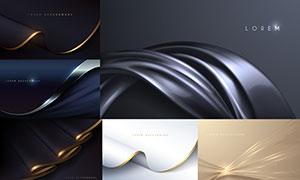 光效點綴的曲線等創意背景矢量素材