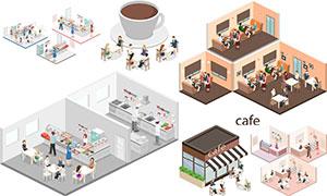 咖啡館與醫院等等距模型等矢量素材