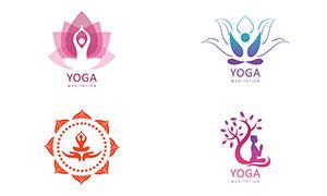 瑜伽人物剪影元素標志創意矢量素材