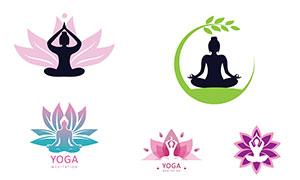 瑜伽體式人物剪影標志設計矢量素材