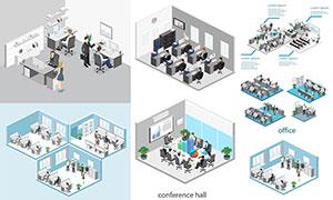 職場辦公室與人物等扁平化矢量素材