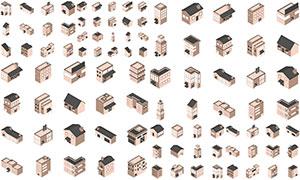 多类型建筑物等距模型主题矢量素材