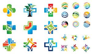 人形与十字等图形标志创意矢量素材