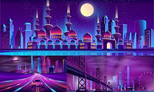 繁华城市建筑物夜景绘画创意矢量图