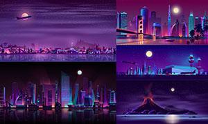 夜晚城市与火山等风光主题矢量素材