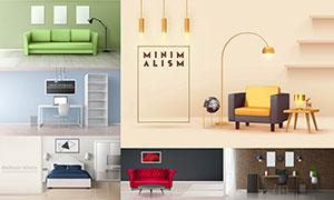 沙发装饰画等室内陈设主题矢量素材