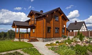 木质别墅外景摄影图片