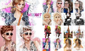 数码照片添加涂鸦艺术效果PS动作