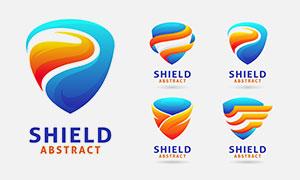 蓝橙色的盾牌标志创意设计矢量素材
