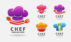 厨师帽与餐具等元素厨师标志矢量图