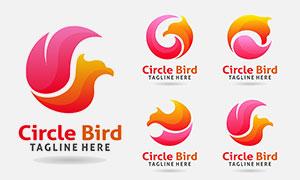 红橙配色飞鸟标志创意设计矢量素材