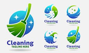 扫把元素清洁主题标志创意矢量素材