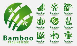 绿叶竹子与字母等变形创意标志素材