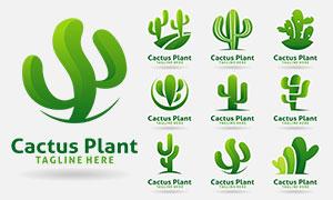 仙人掌植物标志创意标志创意矢量图