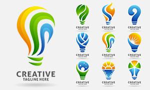 鲜艳灯泡图案标志创意设计矢量素材
