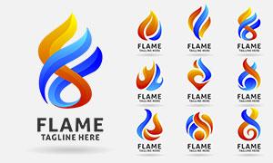 火苗燃烧样式标志创意设计矢量素材
