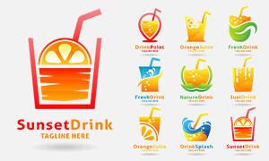 活力配色饮料标志创意设计矢量素材