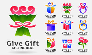 花束等礼物盒主题标志创意矢量素材