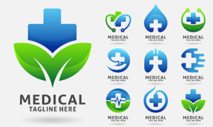 十字元素医疗健康创意标志矢量素材