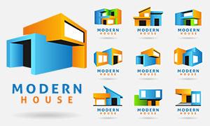 立体几何元素房子标志创意矢量素材