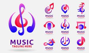 音乐符号主题标志创意设计矢量素材
