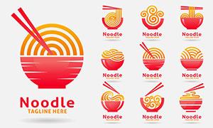 紅橙配色面條標志創意設計矢量素材