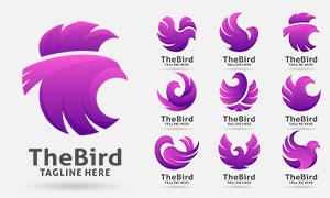 紫色鳥類動物圖案標志創意矢量素材